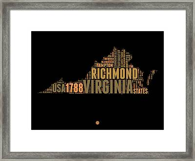 Virginia Word Cloud Map 1 Framed Print by Naxart Studio