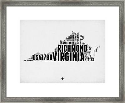 Virginia Word Cloud Map 2 Framed Print