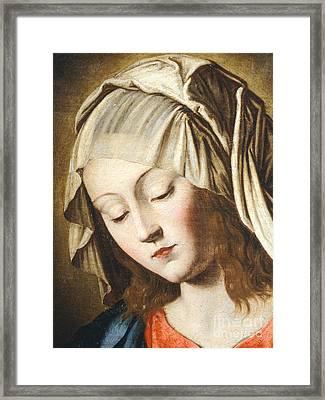 Virgin's Face, Detail From Virgin In Prayer Framed Print