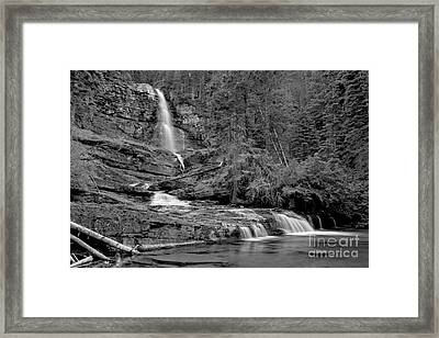 Virgnia Falls Pool - Black And White Framed Print by Adam Jewell