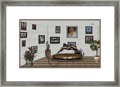 Virtual Exhibition -statue Of Girl Framed Print by Pemaro