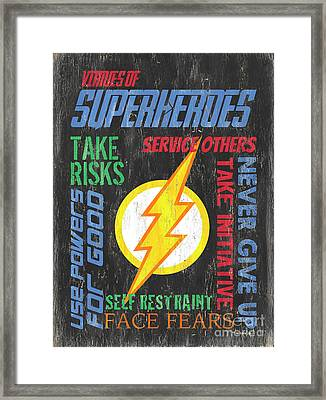 Virtues Of A Superhero 2 Framed Print by Debbie DeWitt