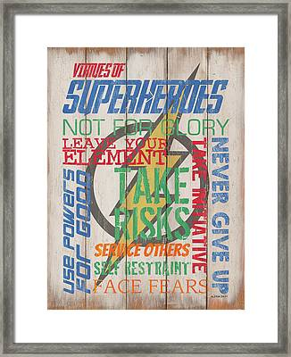 Virtues Of A Superhero Framed Print