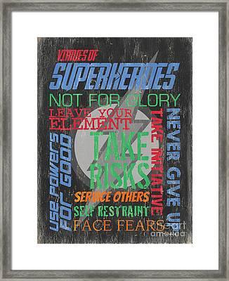 Virtues Of Superheroes Framed Print by Debbie DeWitt