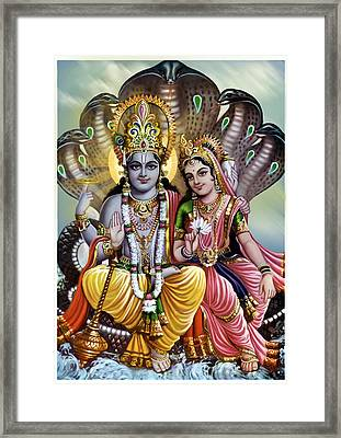 Vishnu God  Framed Print by Deepika Grover