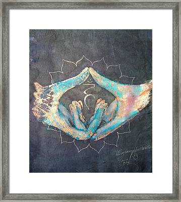 Vishuddha - Throat 'blue Hand' Chakra Mudra Framed Print