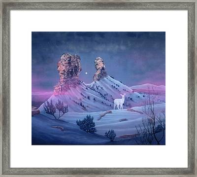 Vision Of The Legend Of White Deer Woman-chimney Rock Colorado Framed Print by Anastasia Savage Ealy