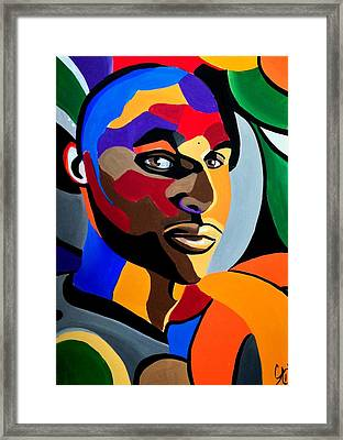 Visionaire - Male Abstract Portrait Painting - Abstract Art Print Framed Print