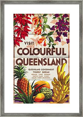 Visit Colorful Queensland - Vintage Poster Folded Framed Print