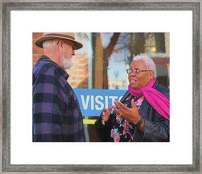 Framed Print featuring the photograph Visit - Conversation by Nikolyn McDonald