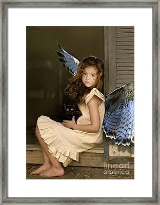 Visit From An Angel, Taking A Break From A Busy Day Of Miracles Framed Print