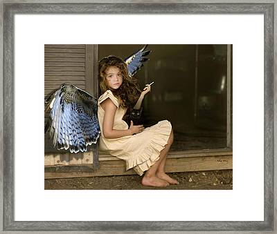 Visit From An Angel, Taking A Break From A Busy Day Framed Print