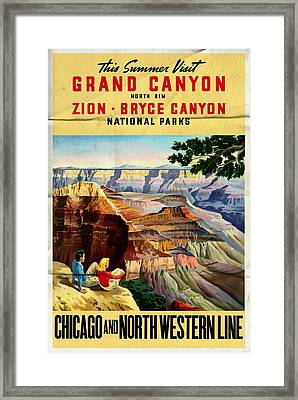 Visit Grand Canyon - Folded Framed Print