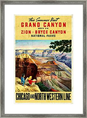 Visit Grand Canyon - Vintgelized Framed Print