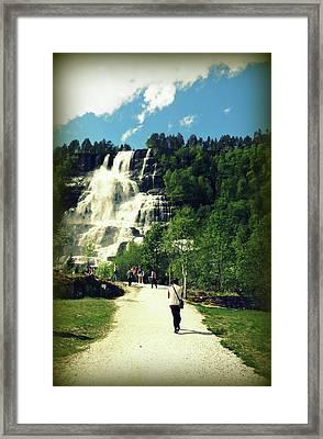 Visit To Tvindefossen Falls Framed Print