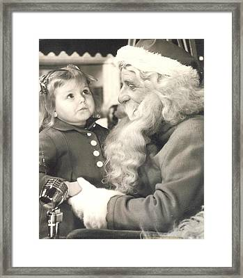 Visiting Santa For The First Time Framed Print by Judyann Matthews