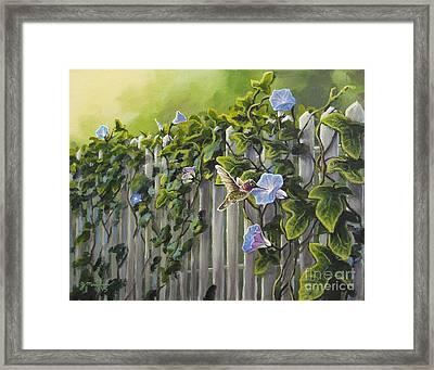 Visiting The Morning Glories Framed Print by Joe Mandrick