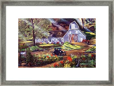 Visiting The Rocking R Framed Print by Myrna Walsh