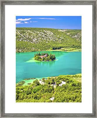 Visovac Lake Island Monastery Aerial View Framed Print by Brch Photography