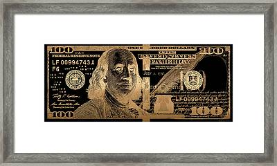 One Hundred Us Dollar Bill - $100 Usd In Gold On Black Framed Print by Serge Averbukh