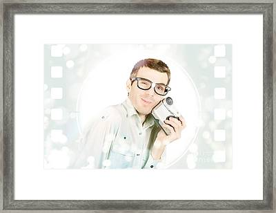 Visual Film Producer Holding Video Recorder  Framed Print by Jorgo Photography - Wall Art Gallery