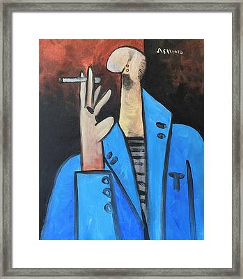 Vitae The Smoker In A Blue Blazer  Framed Print by Mark M Mellon