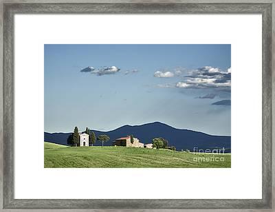 Vitaleta Chapel In Val D'orcia, Tuscany Framed Print by Luigi Morbidelli