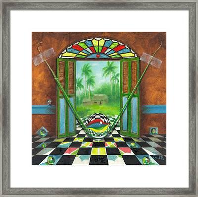 Vitrales Campesino Framed Print