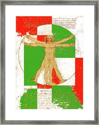 Vitruvian Man In Color Framed Print by Vadim Goodwill