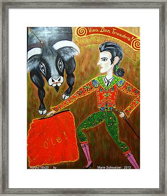 Framed Print featuring the painting Viva Don Toreadore by Marie Schwarzer