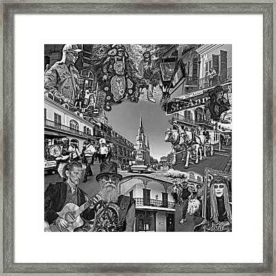 Vive Les French Quarter Monochrome Framed Print by Steve Harrington