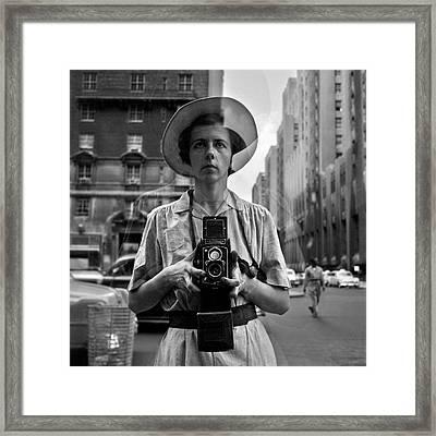 Vivian Maier Self Portrait Framed Print by Hans Wolfgang Muller Leg