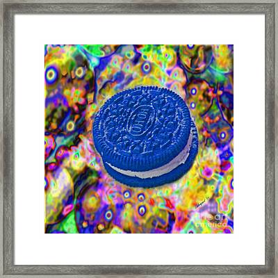 Vivid Blue Cookie Psychedelic 5000 X 5000 Abstract Art Framed Print by Shelly Weingart