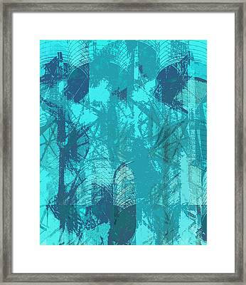 Vivid Blue Seafoam Nyc Water Towers  Framed Print by Stan  Magnan