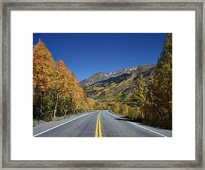Vivid Fall Colors On The Million-dollar Highway In San Juan County In Colorado  Framed Print by Carol M Highsmith