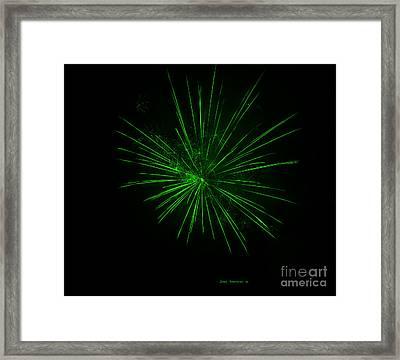 Vivid Green Fireworks Explosion Framed Print