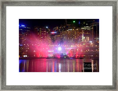 Vivid Sydney By Kaye Menner - Vivid Aquatique Pink And Blue Framed Print by Kaye Menner