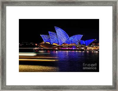 Vivid Sydney - Opera House Blue Geometric By Kaye Menner Framed Print by Kaye Menner