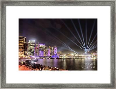 Framed Print featuring the photograph Vivid Sydney Skyline By Kaye Menner by Kaye Menner