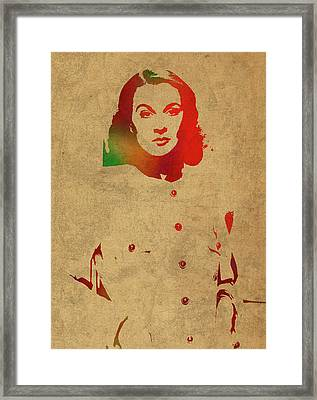 Vivien Leigh Watercolor Portrait Framed Print by Design Turnpike