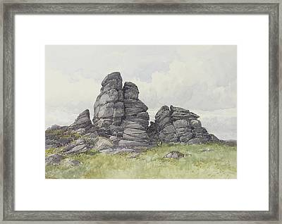 Vixen Tor, Near Merivale Bridge, Dartmoor Framed Print by Frederick John Widgery