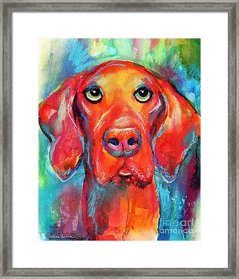 Vizsla Dog Portrait Framed Print by Svetlana Novikova