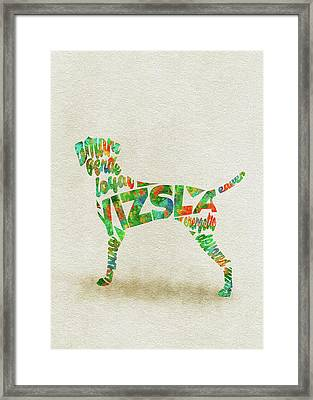Framed Print featuring the painting Vizsla Watercolor Painting / Typographic Art by Inspirowl Design
