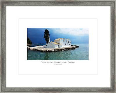 Framed Print featuring the digital art Vlachurna Monastary - Corfu by Julian Perry