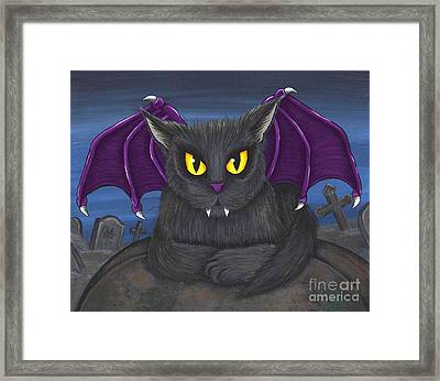 Framed Print featuring the painting Vlad Vampire Cat by Carrie Hawks