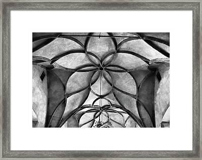 Vladislav Hall Architectural Detail Bw Framed Print
