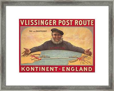 Vlissinger Post Route - Zeeland Maritime Company Poster - London To Flushing Ship Route Framed Print