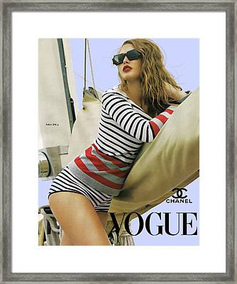 Vogue, Coco Chanel, Vintage Nautical Look, Yatching Framed Print