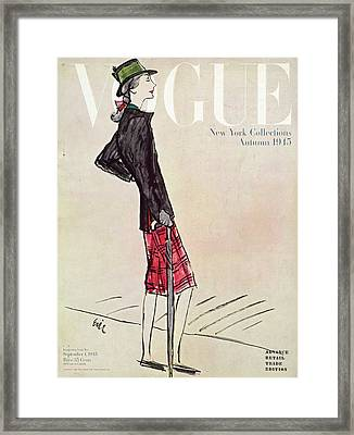 Vogue Cover Featuring A Woman In A Plaid Skirt Framed Print by Carl Oscar August Erickson