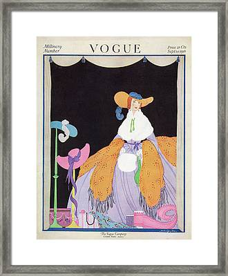 Vogue Cover Featuring A Woman Wearing A Purple Framed Print by Helen Dryden